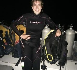 night dive cayman brac padi aqualung astronaut abby
