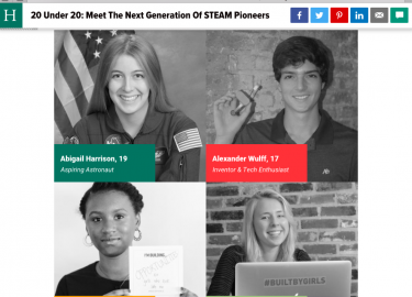 Named Huffington Post and Ford's 20 Under 20 STEAM Pioneers