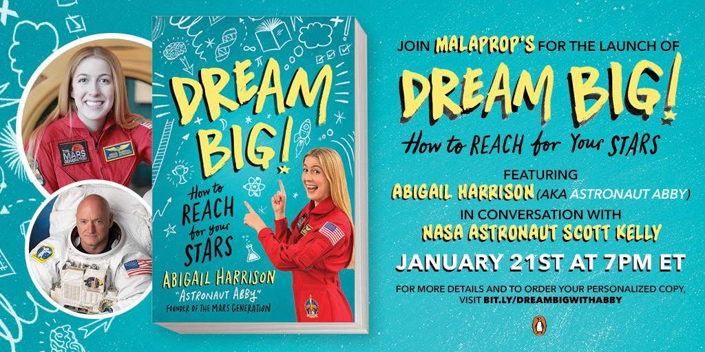 Abigail Harrison_Scott Kelly_Book Launch_Dream Big_Malaprops_The Mars Generation