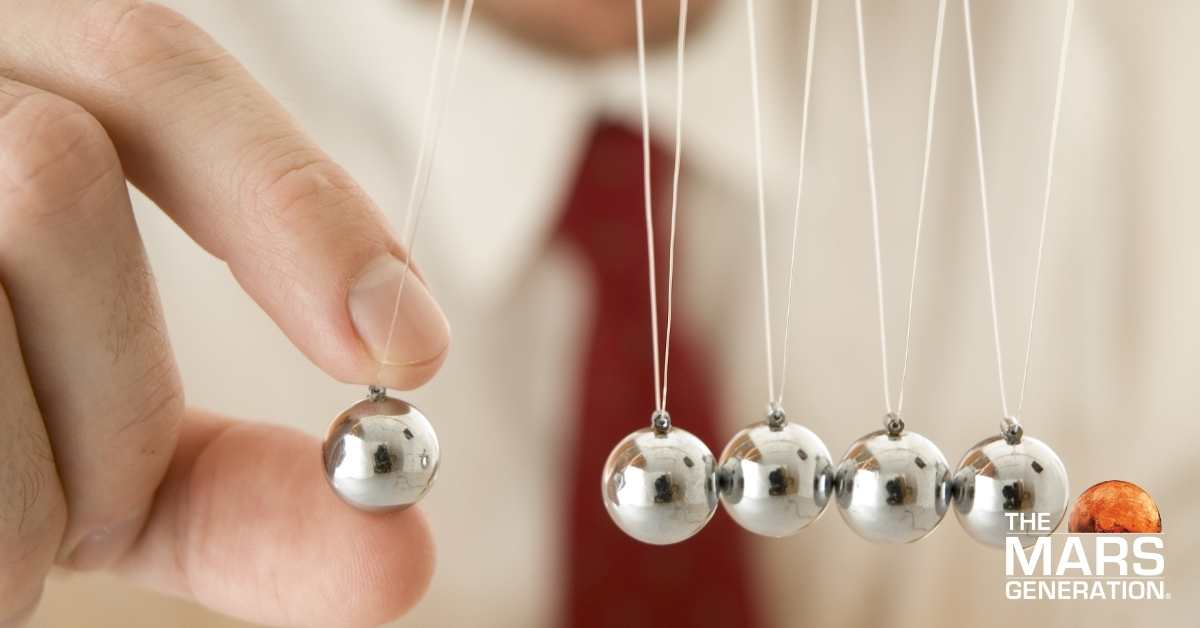 Astronaut Abby_Newton's Cradle Image_Newton's Laws of Motion_The Mars Generation