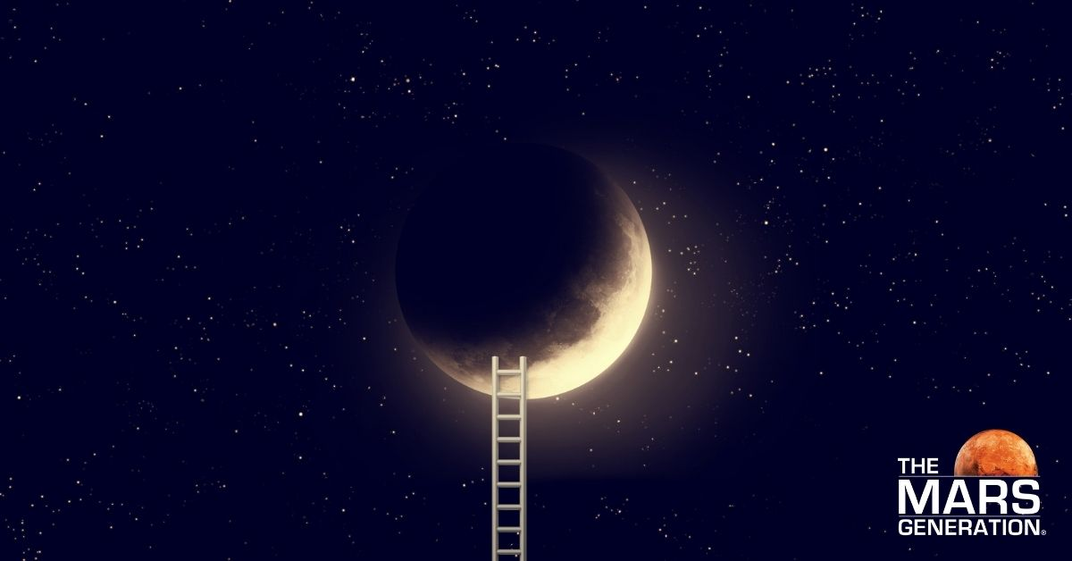 Astronaut Abby_The Science Behind Sleep and Dreams_Moon with Ladder_Image